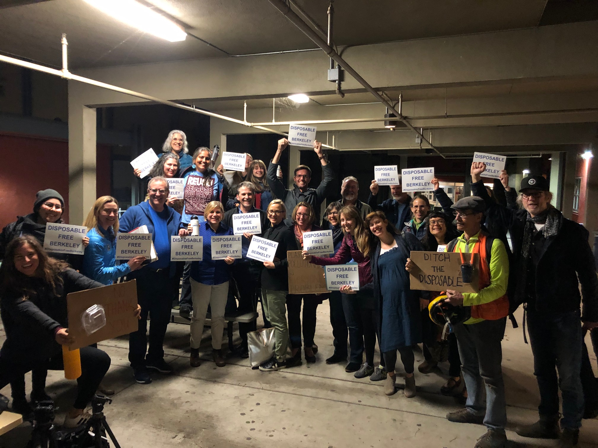 Advocates celebrate the passage of the Berkeley disposable dining ordinance
